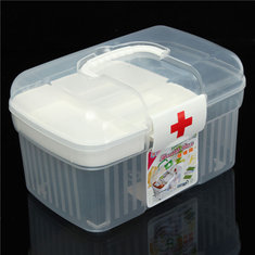 2 Layers Health Pill Chest Aid Kit Medicine Drug Bottle Storage Container Box Clear Plastic
