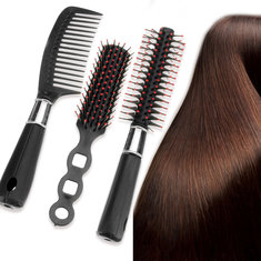 3Pcs/Set Black Pro Hair Styling Hairdressing Comb Hair Brushes Kit