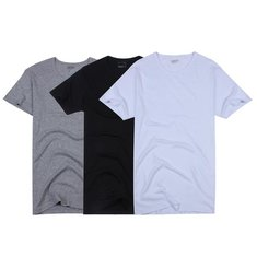 A&S Men's Slim Crew Neck Solid Cotton Short Sleeve Tee T-shirt