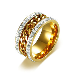 Stainless Steel Rhinestones Gold Color Chain Rotating Ring