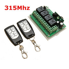 Geekcreit® 12V 4CH Channel 315Mhz Wireless Remote Control Switch With 2 Transimitter