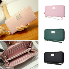 SuoAi Lady PU Leather Zipper Card Holder Phone Bag For under 5.5 inch phone