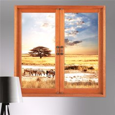3D Wall Decals 3D Artificial Window View Removable Grassland Stickers Home Wall Decor Gift