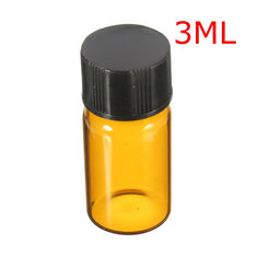3ML Dark Brown Glass Small Bottle Vials With Inner Plug 16x32MM
