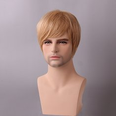 Golden Blonde Men Short Human Hair Wig Male Mono Top Virgin Remy Capless Side Bang