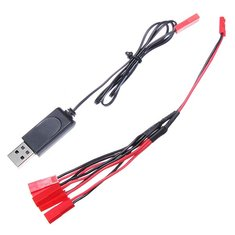 1 To 5 3.7V 1S LiPo Battery Charging Cable with USB Charger JST Plug for V959 V212 V222 H8C H11C H12