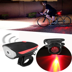XANES Waterproof Super Bright USB Rechargeable LED Bike Light Headlight with Horn and Taillight Set