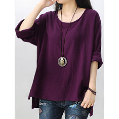 Retro Women Scoop Neck Long Sleeve Pure Color Side Slit Baggy Shirts