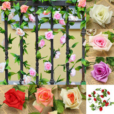 2.4m Artificial Plastic Rose Flower Green Leaves Garland Home Garden Wedding Party Decoration
