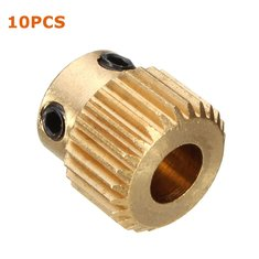 10PCS 26 Teeth Brass Extruder Gear Inner Hole 5mm With M3 Screw For 3D Printer