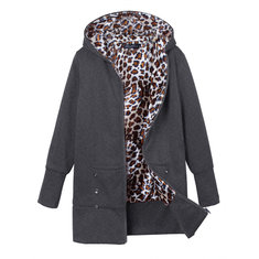 Plus Size Women Leopard Hoodie Slim Coat  Casual Outwear