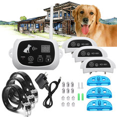 Wireless Pet 3 Dog Fence No-Wire Training Containment System Collar Rechargeable