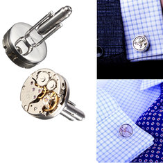 Men Male Silver Mechanical Watch Pattern Bare Cuff Links Wedding Gift Suit Shirt Accessories