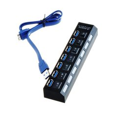 7 Ports USB3.0 External HUB with Individual Switch + USB A to B Cable