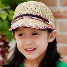 Straw Braid Sunbonnet Kid Baseball Cap Knit Baby Hats