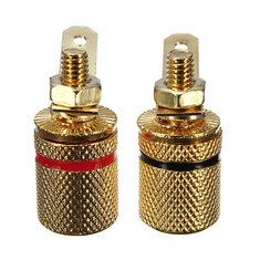2pcs Gold Plated Binding Post Amplifier Connector Banana Plugs