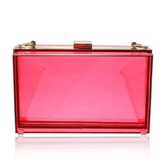 Fashion Women Transparent Acrylic Perspex Clutch Clear Purse Handbag