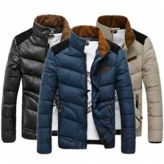 Mens Slim Fit Stand Collar Winter Warm Cotton Jacket Coat
