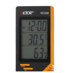 VC330 Digital LCD Indoor Thermometer Hygrometer Clock Humidity Meter