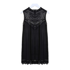 Women Sexy Lace Flower Printed Sleeveless Hollow Out Short Mini Dress
