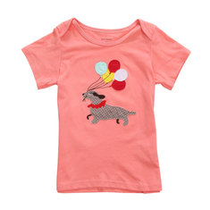 2015 New Little Maven Baby Girl Children Dog Red Cotton Short Sleeve T-shirt Top