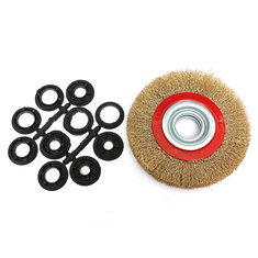 6 Inch 150mm Steel Wire Wheel Brush And Adaptor Rings For Bench Grinder Clean Polish