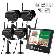 ENNIO SY903E14 9inch LCD Monitor DVR Wireless Kit Home CCTV Security System with Four Digital Cameras