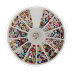 3mm Glitter Rhinestones Nail Art Decoration With Round Wheel