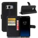 Lychee Leather Magnetic Flip Stand Bracket Card Solt Wallet Case Cover for Samsung Galaxy S8 Plus