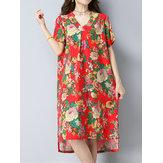 Original Floral Printed V-neck Short Sleeve Fashion Summer Dress