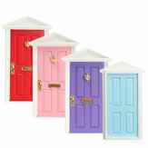 Wooden Mini Door Assembled With Metal Accessories 1:12 Scale Dollhouse Decor
