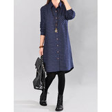 Original Women Stripe Loose Buttons Down Asymmetric Shirt Dress