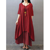 Original Vintage Women Half Sleeve Solid Color Irregular Hem Dress with Buttons