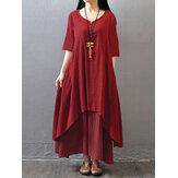 Original Vintage Women Half Sleeve Solid Color Irregular Hem Dress with Buttons