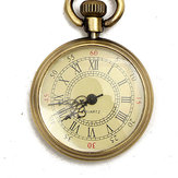 DEFFRUN Vintage Bronze Yellow Color Dial Roman Number Chain Pocket Watch