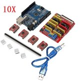 10X Geekcreit® CNC Shield + UNO R3 Board + 4x A4988 Driver Kit With Heatsink For Arduino 3D Printer