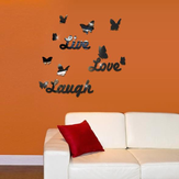 3D Live Love Laugh Square Silver DIY Shape Mirror Wall Stickers Home Wall Bedroom Office Decor