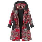 Original Gracila Printed Patwchwork Hooded Coat