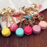 Original Colorful Macarons Cake Car Keychain Women Bag Trinket With Pearl Tassels Alloy Pendant Rings