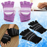 5V USB Powered Half Finger Heating Heated Winter Hand Warmer Gloves X'mas Gift