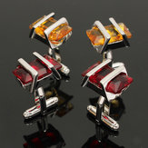 Men Male Rectangle Ruby Crystal Cufflinks Wedding Party Gift Shirt Suit Accessories