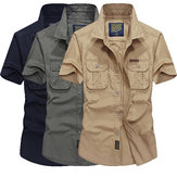 Mens Outdoor Summer Cotton Solid Color Double Pockets Casual Cargo Shirts