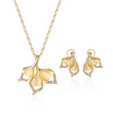 Original Elegant Gold Color Opal Rhinestone Jewelry Set Bright Exquisite Leaf Necklace Flower Earrings