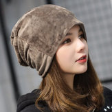 Original Women's Solid Velvet Skullies Beanie Hat Casual Ear Protection Windproof Warm Hat