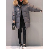 Original M-3XL Winter Women Fur Collar Hoodie Cotton Quilted Jacket