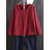 Vintage Women Long Sleeve Solid Color Button Up Cardigan Shirt with Pockets