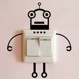 Loskii Black Robot Switch Sticker Living Room Bedroom Wall Poster Home Decor