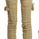Women Warm Cashmere Knee High Knit Crochet Socks Boots Sets