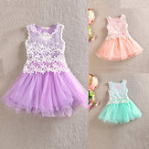 2015 Toddle Girls Crochet Lace Flower Sleeveless Party Princess Wedding Tutu Dress