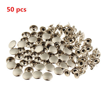 Sliver Double Cap Rapid Round Rivet Studs Spots Punk Nailheads Spikes for Bag Shoes Bracelet